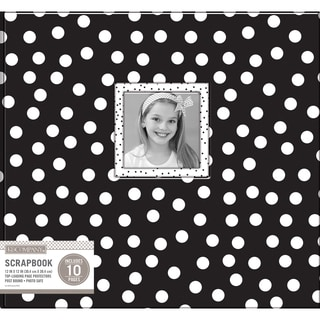 K&Company Patterned Post Bound Window Album 12inX12in Black & White Dots