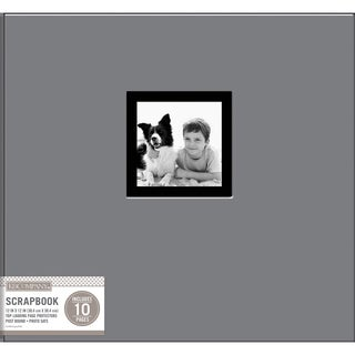 K&Company Fabric Post Bound Window Album 12inX12in Gray