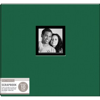 K&Company Fabric Post Bound Window Album 12inX12in Hunter Green