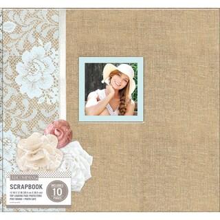 K&Company Patterned Post Bound Window Album 12inX12in Burlap