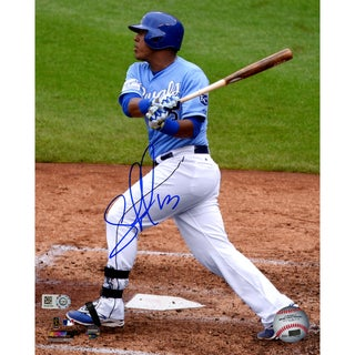 Salvador Perez Signed Blue Jersey Swing Photo (MLB Auth)