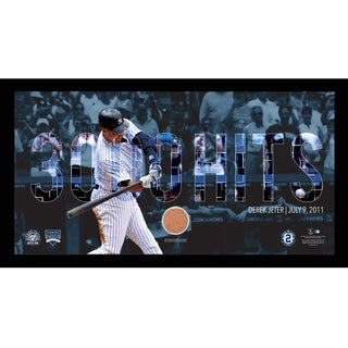 Derek Jeter Moments: DJ3K Collage Text Overlay w/ Game Used Dirt Framed 9.5x19 7331 Style