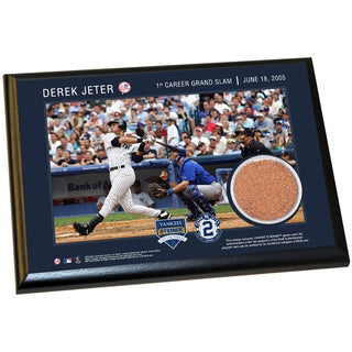 Derek Jeter Moments: 1st Grand Slam 4x6 Dirt Plaque
