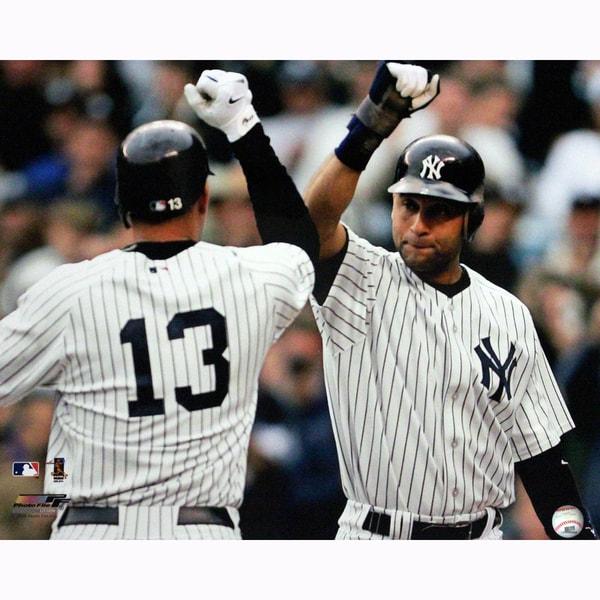 Derek Jeter Congratulating Alex Rodriguez After Home Run 16x20 Photo uns