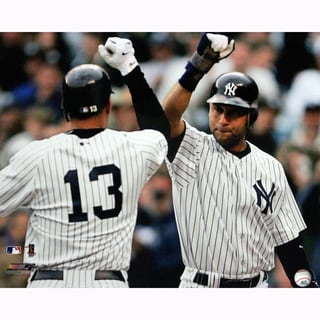 Derek Jeter Congratulating Alex Rodriguez After Home Run 16x20 Photo uns