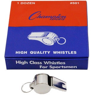 Champion Sports Box of 12 Metal Whistles (Pack of 3)