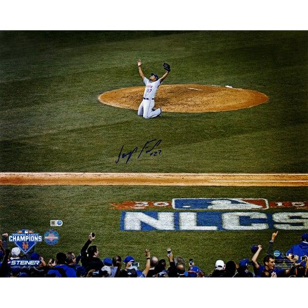 Jeurys Familia Signed NLCS Celebration w/ NLCS Logo 16x20 Photo (MLB Auth)