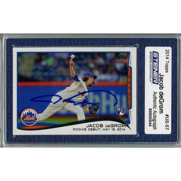 Jacob deGrom Signed 2014 Topps Rookie Card (Slabbed by Steiner)