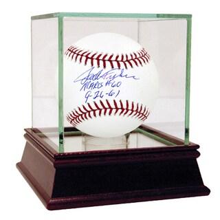 """Jack Fisher Signed MLB Baseball w/ """"Maris #60 9-26-61"""" Insc"""