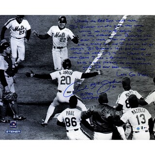 """Howard Johnson Signed Greeting Knight Crossing the Plate 1986 WS """"Story"""" 16x20 Photo"""