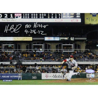 Homer Bailey Cincinnati Reds Pitching No-hitter Against Pirates Signed Horizontal 8x10 Photo w/ No Hitter 9-28-12 Insc