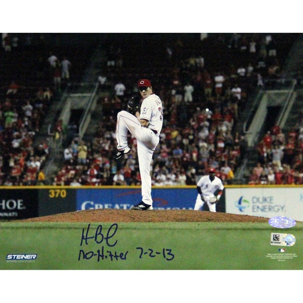 Homer Bailey Cincinnati Reds Pitching No-hitter Against Giants Signed Horizontal 8x10 Photo w/ No Hitter 7-2-13 Insc