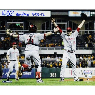Homer Bailey Cincinnati Reds Celebrating No-hitter Against Pirates Signed Horizontal 8x10 Photo w/ No Hitter 9-28-12 Insc