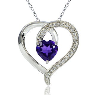 Glitzy Rocks Sterling Silver African Amethyst and White Topaz Open Heart Necklace