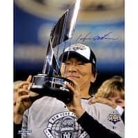 Hideki Matsui 2009 World Series w/ Trophy Vertical 16x20 Photo (MLB Auth)