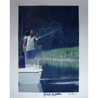 Hank Aaron Fishing 16x20 Photo Signed By Photographer Ken Regan