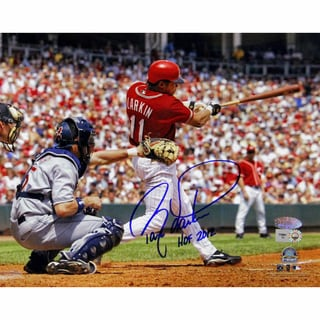 "Barry Larkin Swing Horizontal 8x10 Photo w/ ""HOF 2012"" Insc"
