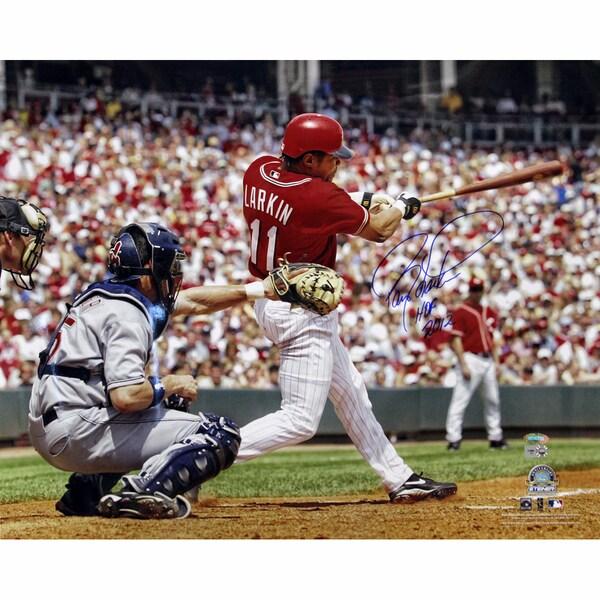 """Barry Larkin Swing Horizontal 16x20 Photo w/ """"HOF 2012"""" Insc"""