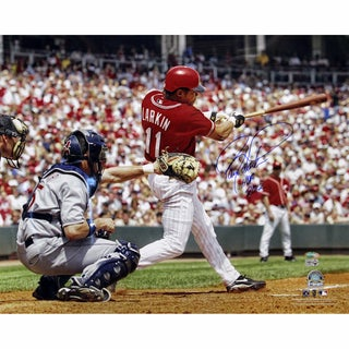 "Barry Larkin Swing Horizontal 16x20 Photo w/ ""HOF 2012"" Insc"