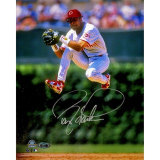 Barry Larkin Signed Jump Vertical 8x10 Photo