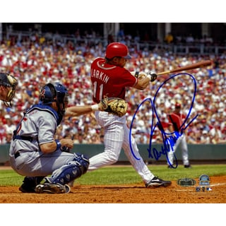 Barry Larkin Signed Horizontal Swing 8x10 Photo