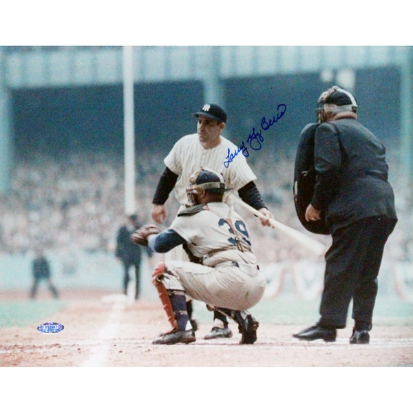 "Larry ""Yogi"" Berra Turning Towards Catcher Signed 11x14 Horizontal Photo"