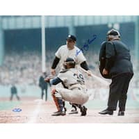 """Larry """"Yogi"""" Berra Turning Towards Catcher Signed 11x14 Horizontal Photo"""
