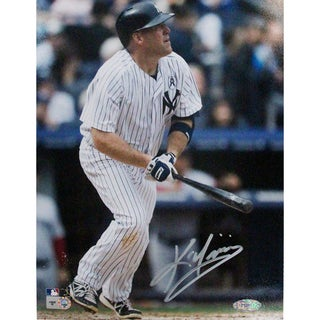 Kevin Youkilis New York Yankees Pinstripe Jersey Batting Close-up Signed 8x10 Photo (MLB Auth)