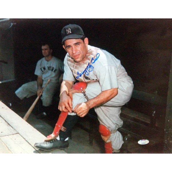 "Larry ""Yogi"" Berra Putting On Shin Guard Signed 11x14 Horizontal Photo"