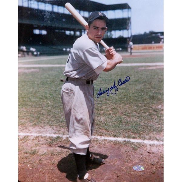"Larry ""Yogi"" Berra Batting Pose By Foul Line Signed 11x14 Vertical Photo"