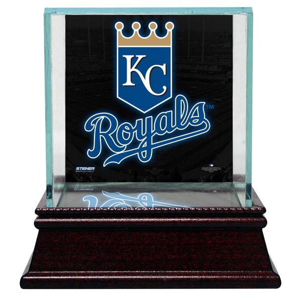 Kansas City Royals Glass Single Baseball Case with Team Logo Background