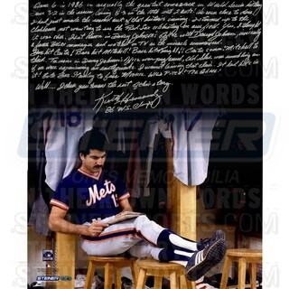 "Keith Hernandez Signed Completing Crossword Puzzle in Locker Room 16x20 Story Photo w/""86 W.S Champs""Insc."
