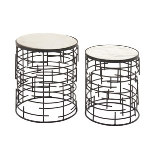 Benzara Metal Marble Accent Tables (Set Of 2)