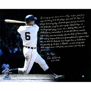 Al Kaline Signed Detroit Tigers Swing Horizontal 16x20 Story Photo