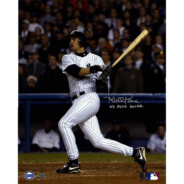 Aaron Boone Signed 2003 ALCS GW HR vs Red Sox Swing 16X20 Vertical Photo w/ 03 GW HR ALCS Insc