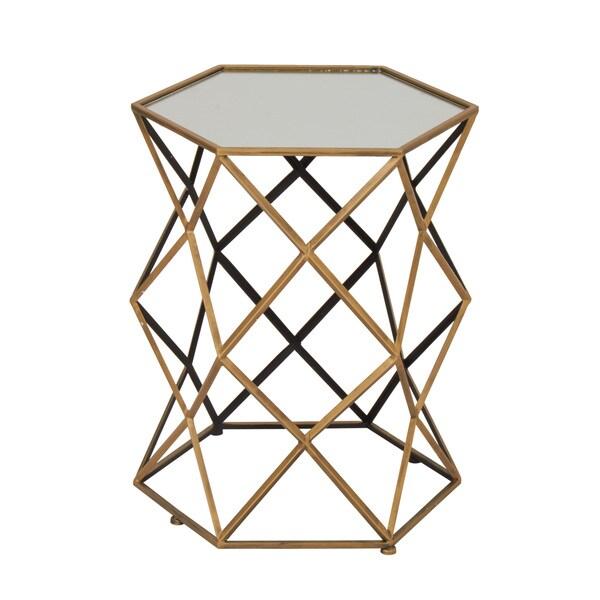 Benzara Metal Mirror Accent Table