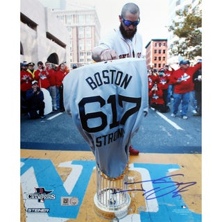 Jonny Gomes Signed World Series Tropy at Finish Line w/ Boston Strong Jersey 8x10 Photo (MLB Auth Only)
