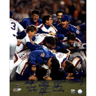 1986 NY Mets 11 Signature Close Up WS Celebration 16x20 Photo (MLB Auth)