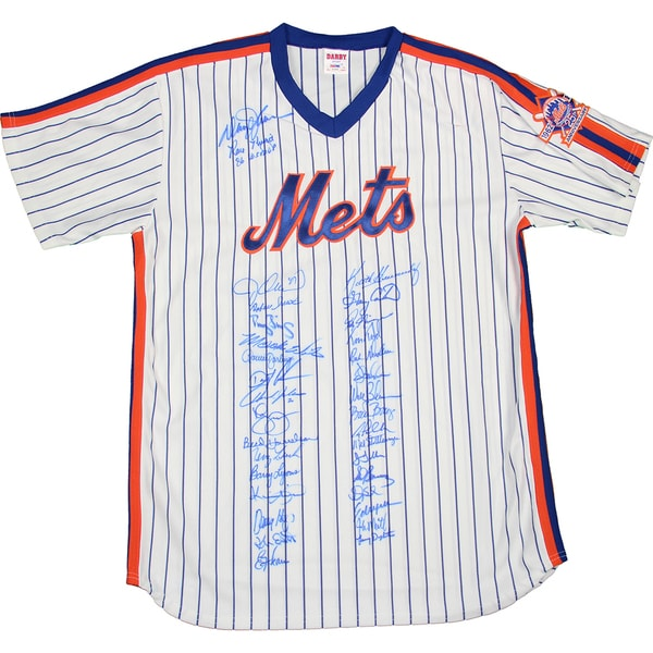 1986 New York Mets Team Signed Jersey with 1962-1986 25th Anniversary Patch w/ Gary Carter (35 Signatures) (PSA/DNA Auth)