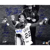 1986 Mets Multi Signed Knight Hugging Carter 16x20 Photo w/ Gary Carter (19 Sigs) (MLB Auth)