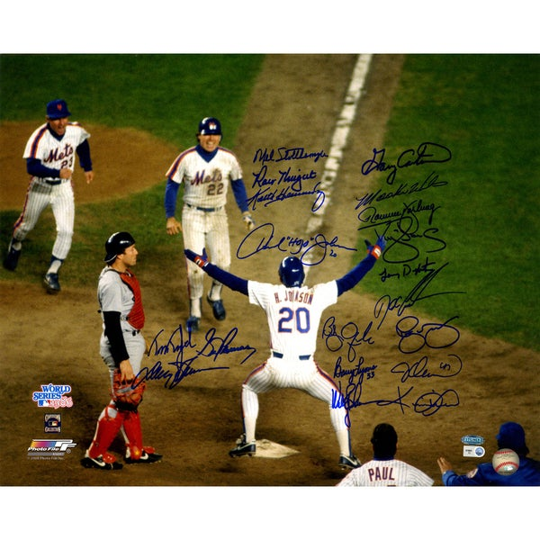 1986 Mets Multi Signed Johnson at Home Plate 16x20 Photo w/ Gary Carter (19 Sigs) (MLB Auth)