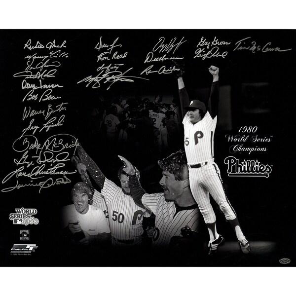 1980 Philadelphia Phillies Multi-Signed 16x20 Photo (22 Signatures) ( Leaf Holo Only & Athlon Cert)
