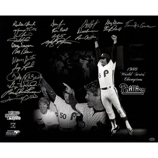 1980 Philadelphia Phillies Multi-Signed 16x20 Photo (22 Signatures) ( Leaf Holo Only & Athlon Cert)