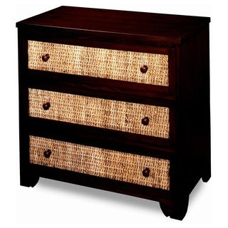 Progressive Kalani Mahogany and Banana Leaf Rattan 3-drawer Chest
