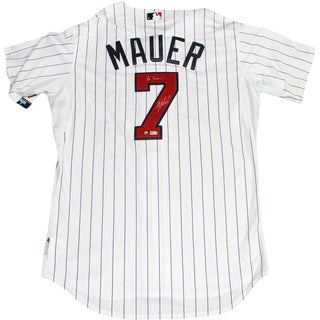 "Joe Mauer Signed Minnesota Twins Authentic Home Jersey w/ All Star Game Patch w/ ""Go Twins"" Insc (MLB Auth)"