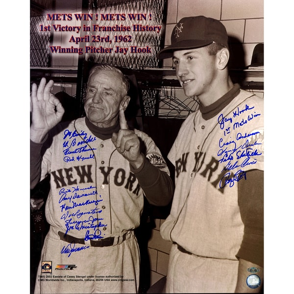 "1962 New York Mets Multi Signed 16x20 Photo ""1st Mets Win"" inscribed by Jay Hook"