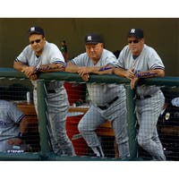 Joe Torre, Don Zimmer and Mel Stottlemyre Triple Signed On Dugout Steps 16x20 Photo (Signed in Blue)
