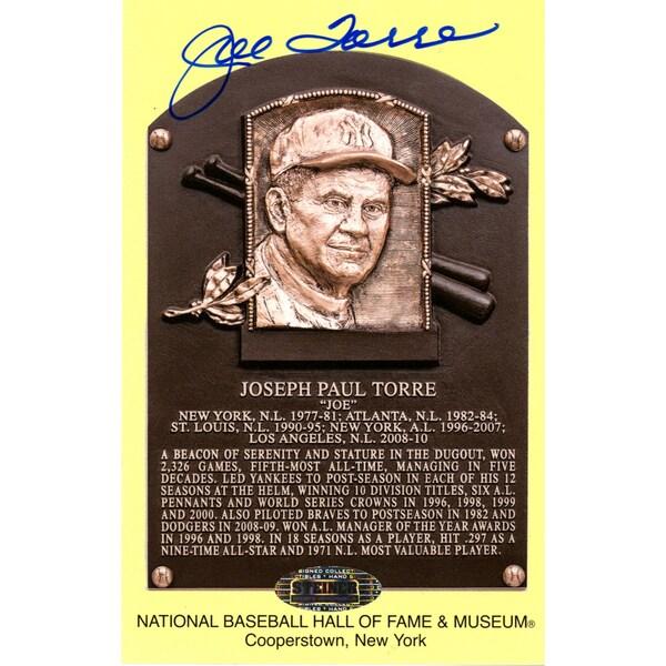 Joe Torre Signed Hall of Fame Plaque Postcards