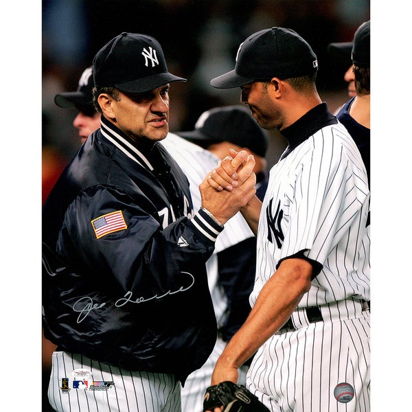 """Joe Torre Signed """"Shaking hands with Rivera"""" 16x20 Photo (JSA Holo Only)"""