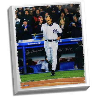 "Joe Torre Signed  Tip Cap 20x24 Canvas w/ ""HOF 14""Insc."